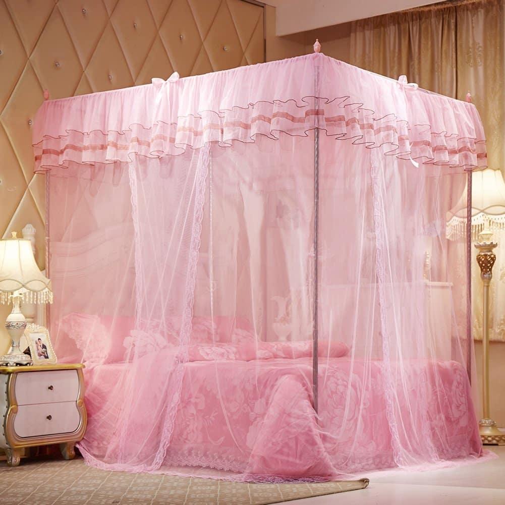 Mosquiteiro Para Cama Mosquito Net Bed Canopy Lace Luxury 4 Corner